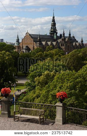 STOCKHOLM, SWEDEN - AUGUST 20, 2017: Building of Nordic museum viewed from Skansen. Museum was established in 1873 by Artur Hazelius, and building was completed in 1907