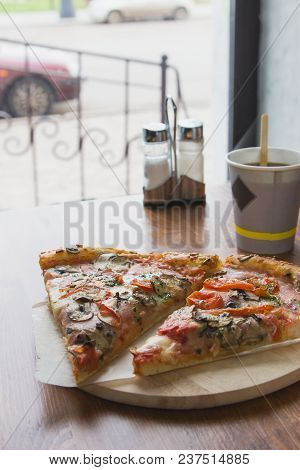 Morning Cafe Delicious Bacon Pizza Two Pieces.