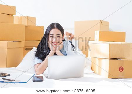 Young Asian Woman Working At Home, Young Owner Woman Start Up For Business Online. People With Onlin