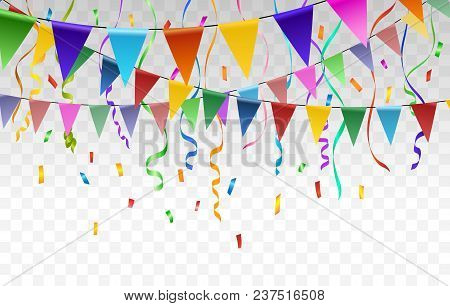 Flags And Confetti Garlands. Vector Paper Bunting And Triangular Pennant Flag Garlands Vector Transp