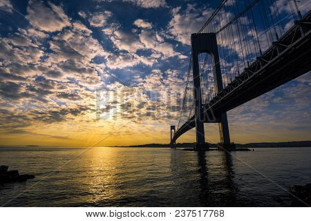 Verrazano Bridge At Sunset, Brooklyn, Ny, Usa
