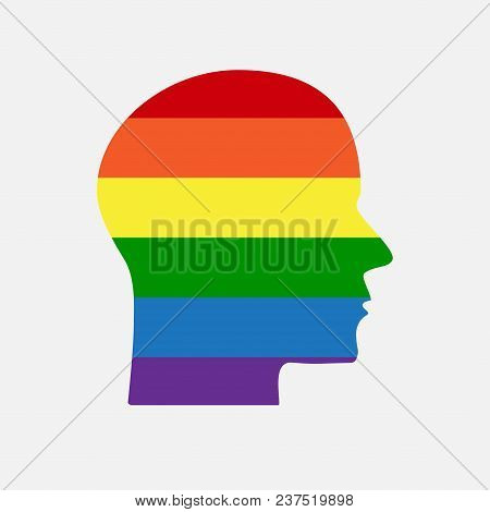 Sign Lgbt Silhouette Head. Lgbt Community Symbol. Vector Illustration. Rainbow. Lesbian Gay Bisexual