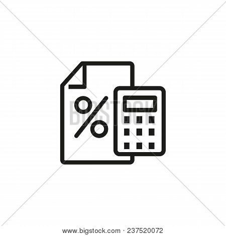 Loan calculator line icon. Interest, counting, estimating. Loan concept. Can be used for topics like banking, interest rate, finance. poster