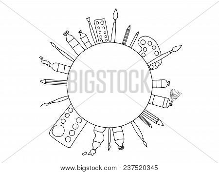 Black And White Fine Art Stationary Doodle. Art Tools Sketch Hand Drawn Set Vector White And Black D