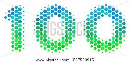 Halftone Round Spot 100 Text Pictogram. Pictogram In Green And Blue Color Tones On A White Backgroun