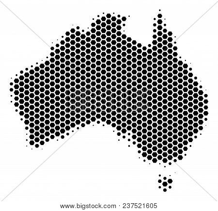 Halftone Hexagon Australia Map. Vector Geographic Map On A White Background. Vector Concept Of Austr