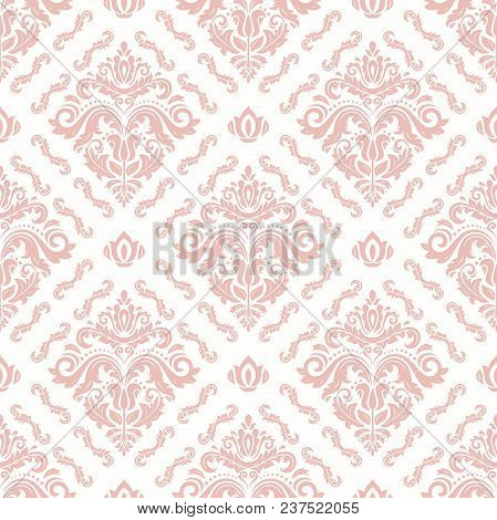 Classic Seamless Vector Pattern. Damask Orient Pink Ornament. Classic Vintage Background. Orient Orn