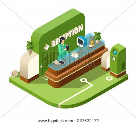Reception Isometric Vector Illustration Of Modern Hospital Or Medical Clinic Reception Interior In C