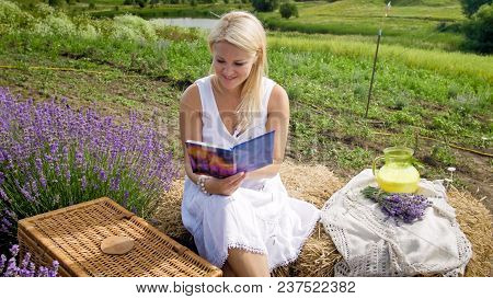 Beautiful Woman Having Picnic In Field And Reading Book
