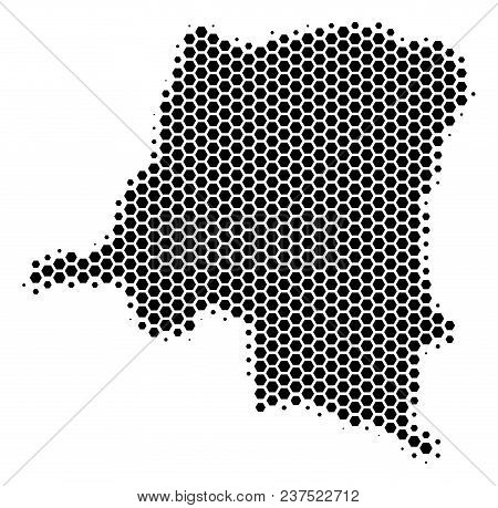 Halftone Hexagon Democratic Republic Of The Congo Map. Vector Geographic Map On A White Background.