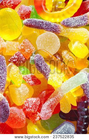 Close Up A Background From Colorful Sweets Of Sugar Candies. Assortment Candies View. Colorful  Swee