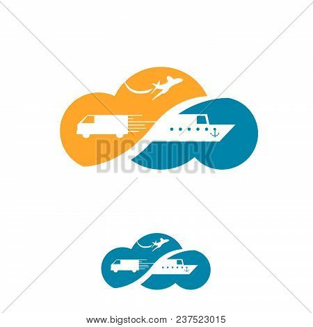 Cloud Travel Agency Logo Design Idea With Airplane, Van, Ship In Negative Space. Amazing Destination