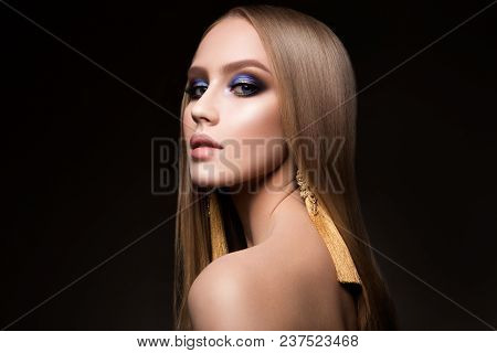 Beauty Girl Portrait With Vivid Makeup. Fashion Woman Portrait Close Up. Bright Colors. Smoky Eyes.