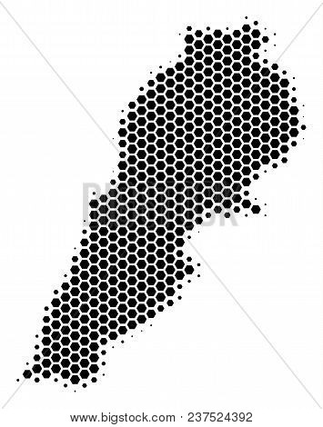 Halftone Hexagonal Lebanon Map. Vector Geographical Map On A White Background. Vector Concept Of Leb