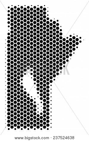 Halftone Hexagon Manitoba Province Map. Vector Geographical Map On A White Background. Vector Compos