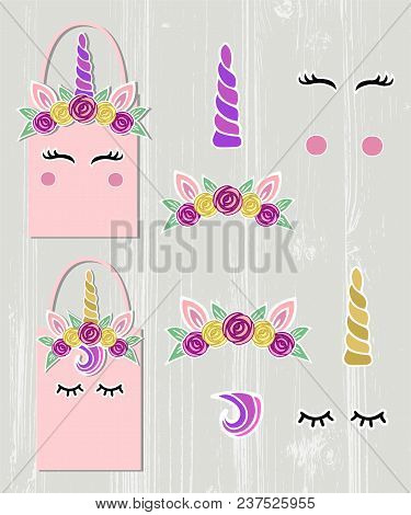 Vector Set With Unicorn Tiara, Unicorn Horn, Swirl, Eyes. Unicorn Symbols As Patch, Stick Cake Toppe