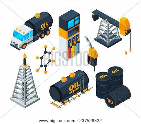 Industry 3d Isometric Illustrations Of Oil And Gas Refining. Vector Oil And Gas Industry, Power Indu
