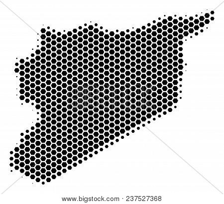 Halftone Hexagonal Syria Map. Vector Geographical Map On A White Background. Vector Collage Of Syria