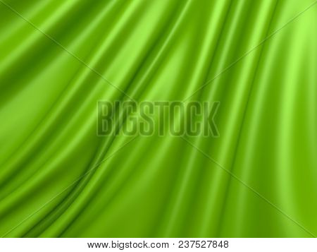 Beautiful Green Silk. Drapery Textile Background. Abstract Soft Elegant Satin