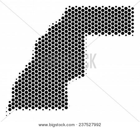 Halftone Hexagonal Western Sahara Map. Vector Geographical Map On A White Background. Vector Concept