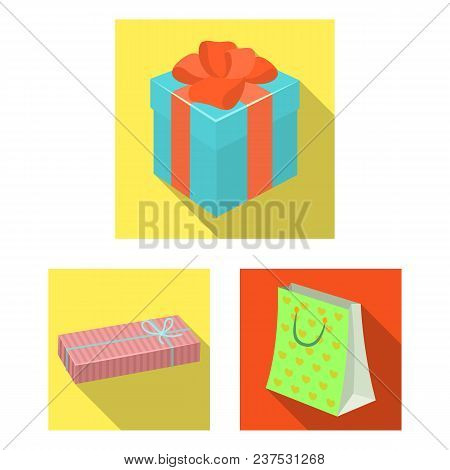 Gift And Packing Flat Icons In Set Collection For Design.colorful Packing Vector Symbol Stock  Illus