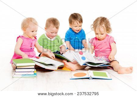 Children Reading Books, Babies Early Education, Group Of Kids One Year Old, Boys And Girls Isolated