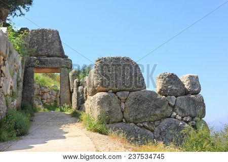 North gate in ancient Greek town Mycenae