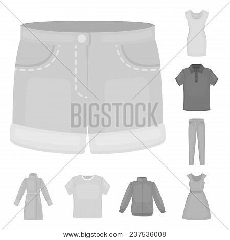 Different Kinds Of Clothes Monochrome Icons In Set Collection For Design. Clothes And Style Vector S
