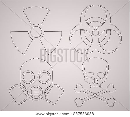 Warning Biohazard Icons. Line Style Sign Illustration.