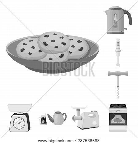 Kitchen Equipment Monochrome Icons In Set Collection For Design. Kitchen And Accessories Vector Symb
