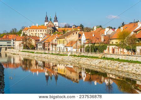 View At The Jewish Quarter With Jihlava River In Trebic - Czech Republic,moravia