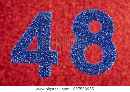 Number Forty-eight Blue Color Over A Red Background. Anniversary. Horizontal