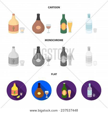 Tequila, Cognac, Beer, Vodka.alcohol Set Collection Icons In Cartoon, Flat, Monochrome Style Vector