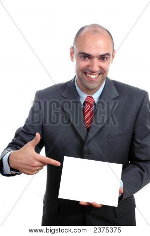 Young Businessman Pointing To White Board