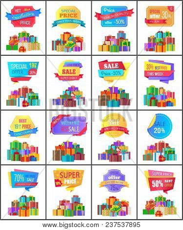 Hot Exclusive Price Labels On Posters With Mountains Of Gift Boxes, Piles Of Exclusive Presents In D