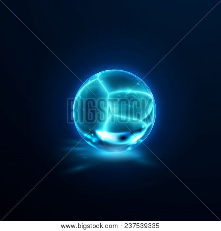 Translucent Cracked Crystal Sphere. Vector Illustration. Glossy Fractured Freeze Ball With Caustics