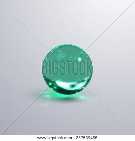 Glossy Glass Sphere. Vector Realistic Illustration Of Turquoise Substance With Caustics Effect. Crys
