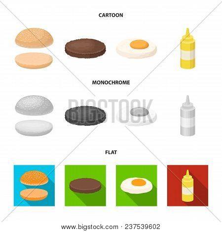 Burger And Ingredients Cartoon, Flat, Monochrome Icons In Set Collection For Design. Burger Cooking