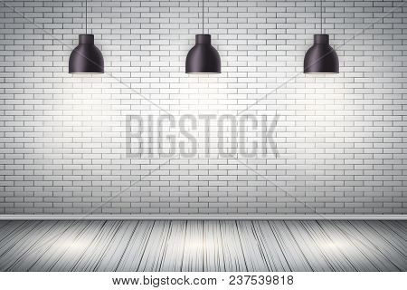Interior Of White Brick Wall With Vintage Pedant Lamps And Wooden Floor.  Vintage Rural Room