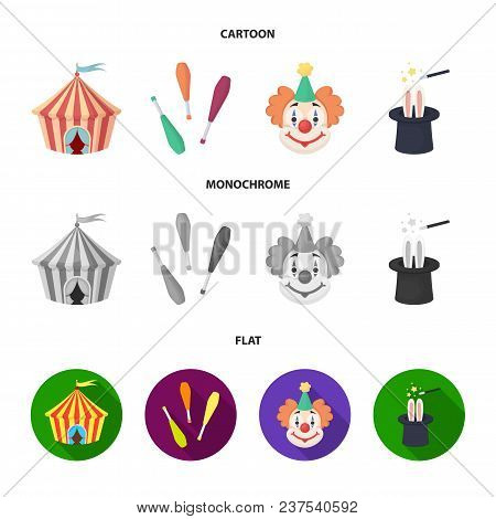Circus Tent, Juggler Maces, Clown, Magician Hat.circus Set Collection Icons In Cartoon, Flat, Monoch