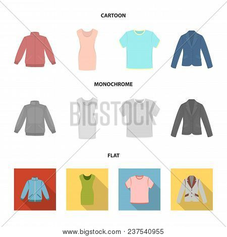 A Mans Jacket, A Tunic, A T-shirt, A Business Suit. Clothes Set Collection Icons In Cartoon, Flat, M