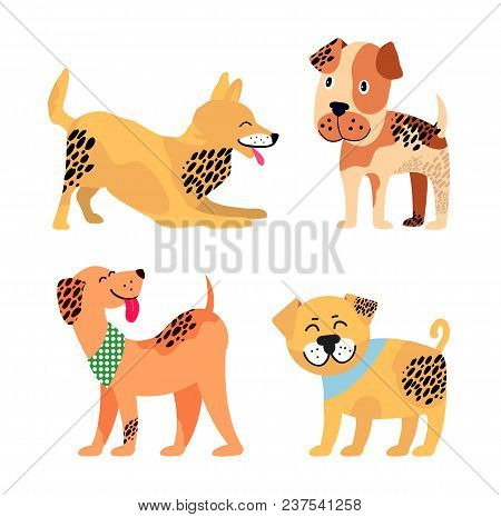 Dogs Images Collection, Representing Icons Of Different Breeds Canine Animals, Four Spotted Puppies