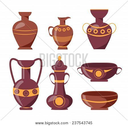 Ancient Clay Vases With Ethnic Ornaments Isolated Vector Illustrations On White Background. Polished