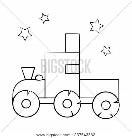 A Great Toy For Baby Contour. Coloring Book For Kids. Stock Vector.