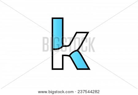 Alphabet Letter K Logo Design With Black Border And Blue Color Suitable For A Company Or Business