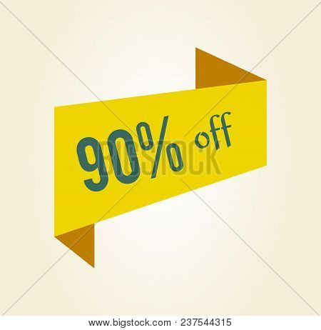 90 Off Discount Clearance Tag Colorful Icon Isolated On White Background. Vector Illustration With Y