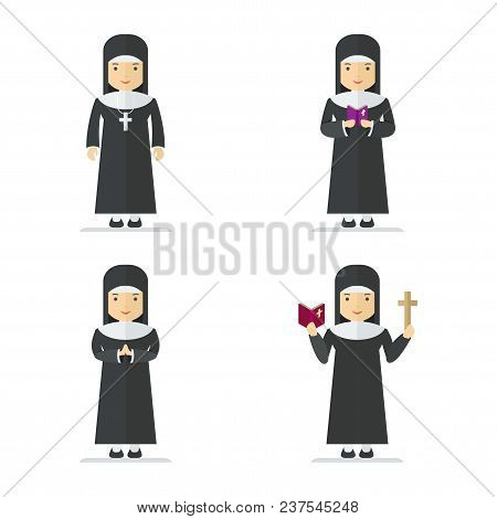 Set Of Catholic Nun. Woman Holding Cross And Bible And Gospel, Bless Parishioners. Flat Vector Carto