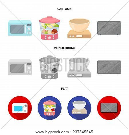 Steamer, Microwave Oven, Scales, Lcd Tv.household Set Collection Icons In Cartoon, Flat, Monochrome