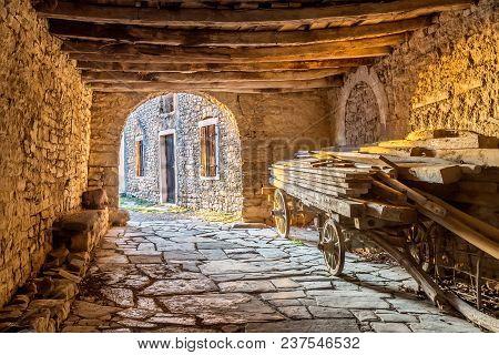 Old Rural Wooden Cart Under Wooden Roof