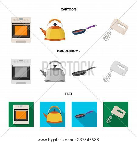 Kitchen Equipment Cartoon, Flat, Monochrome Icons In Set Collection For Design. Kitchen And Accessor